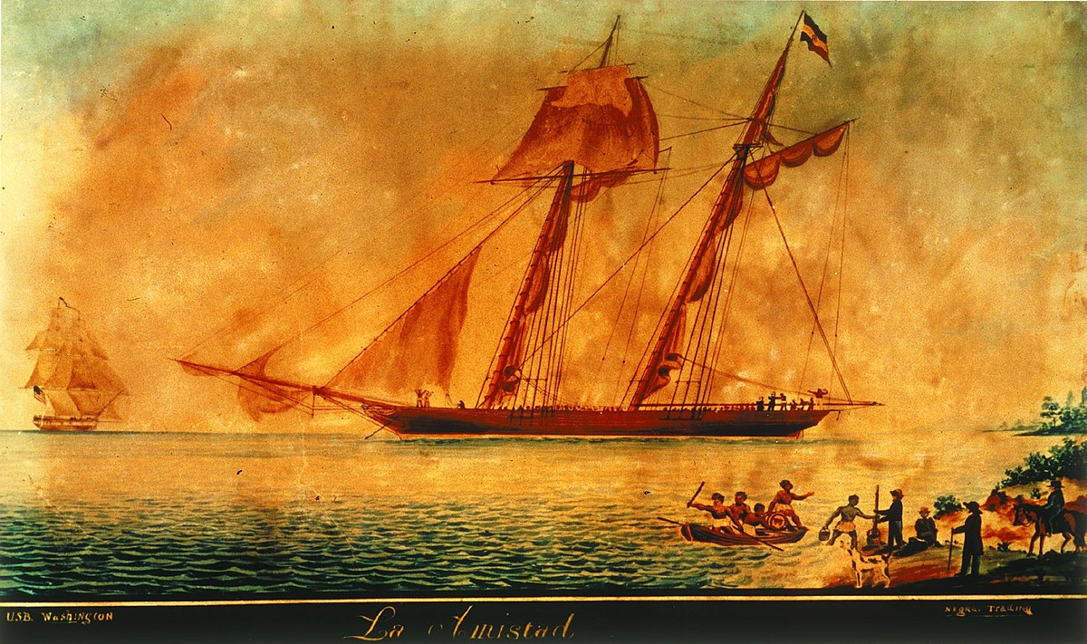 Contemporary painting of the sailing vessel La Amistad off Culloden Point, Long Island.