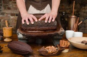 Lady making chocolate