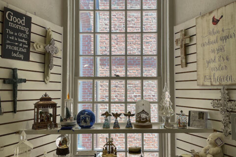Window in the Old North gift shop.