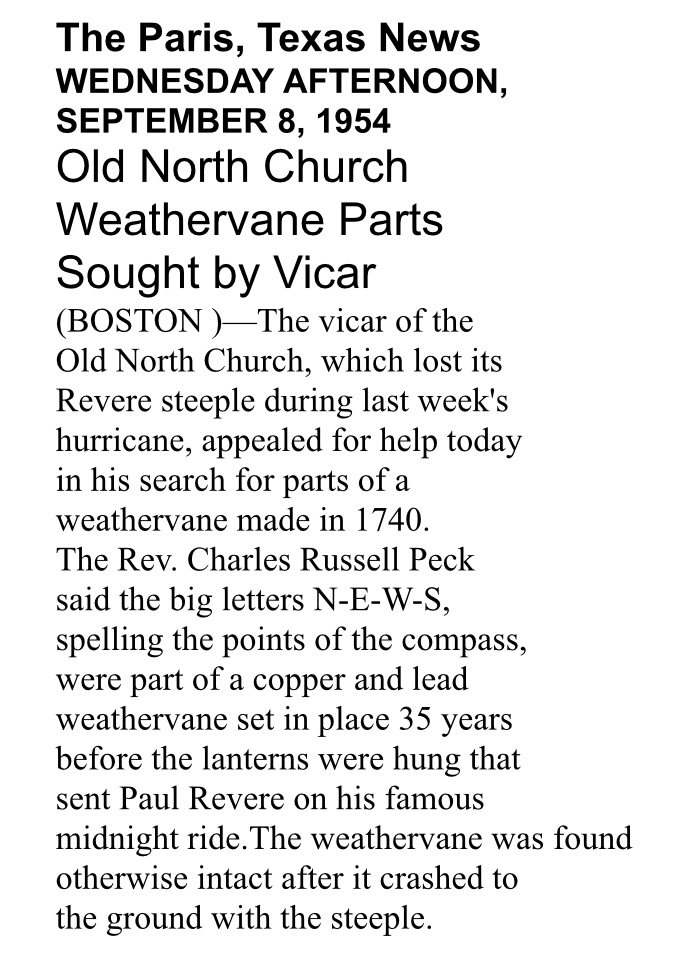 A newspaper clipping from The Paris Texas News about Old North's missing weathervane parts.