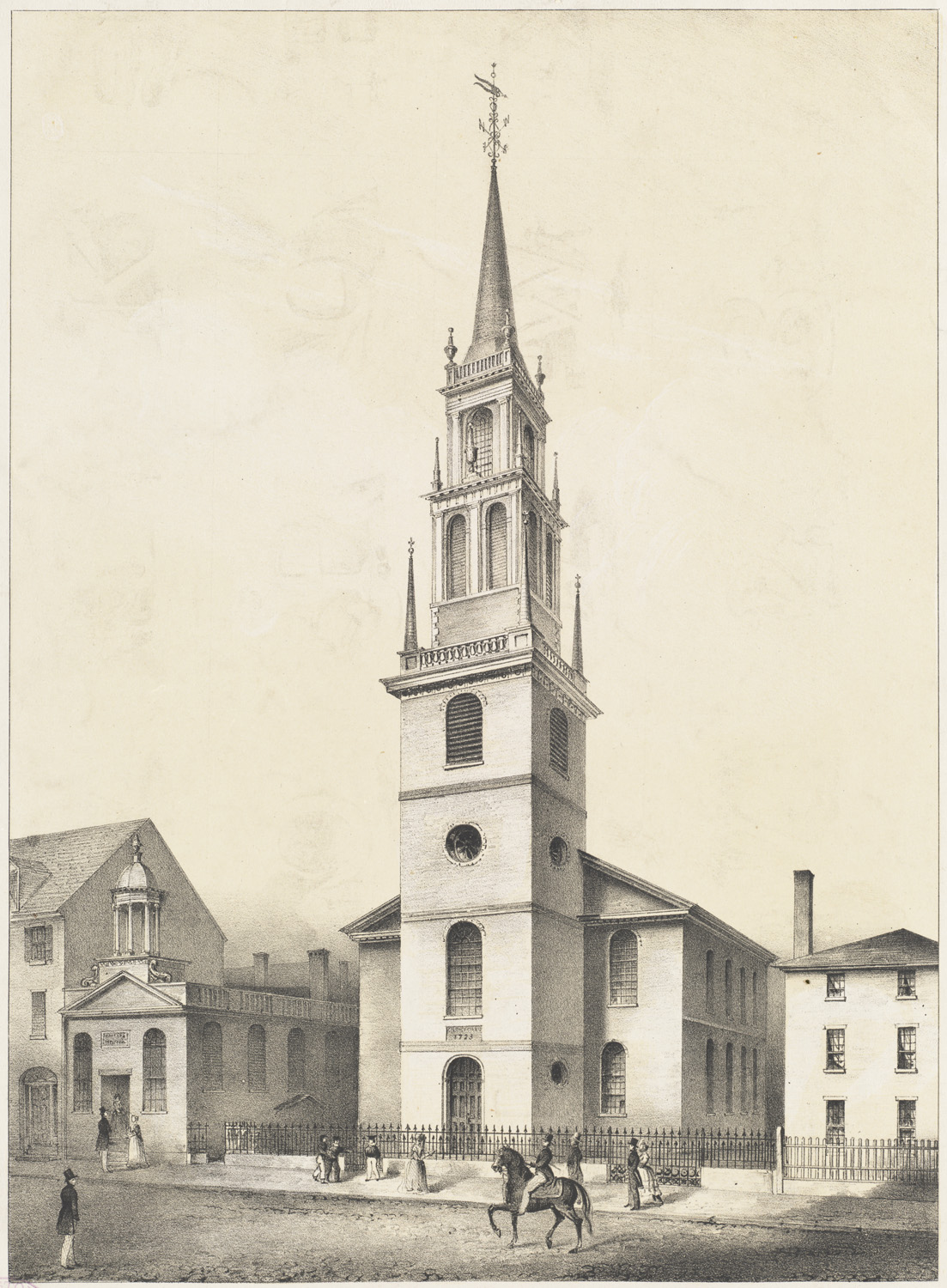 A historic print depicting Old North's first steeple.