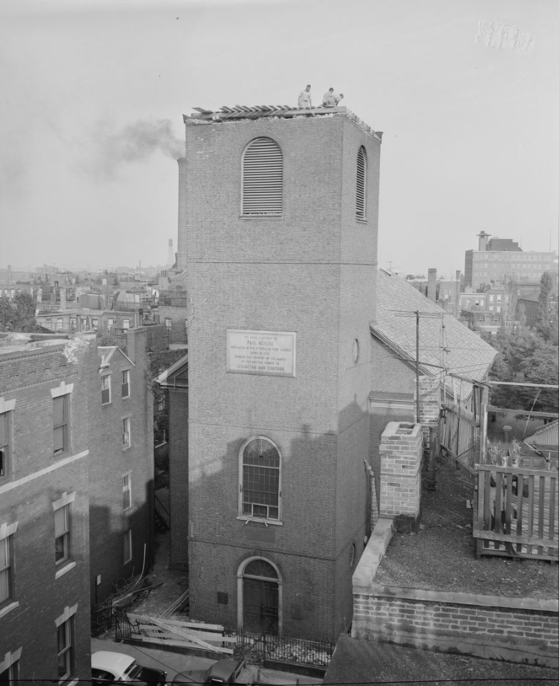 Old North Church without its steeple after Hurricane Carol.