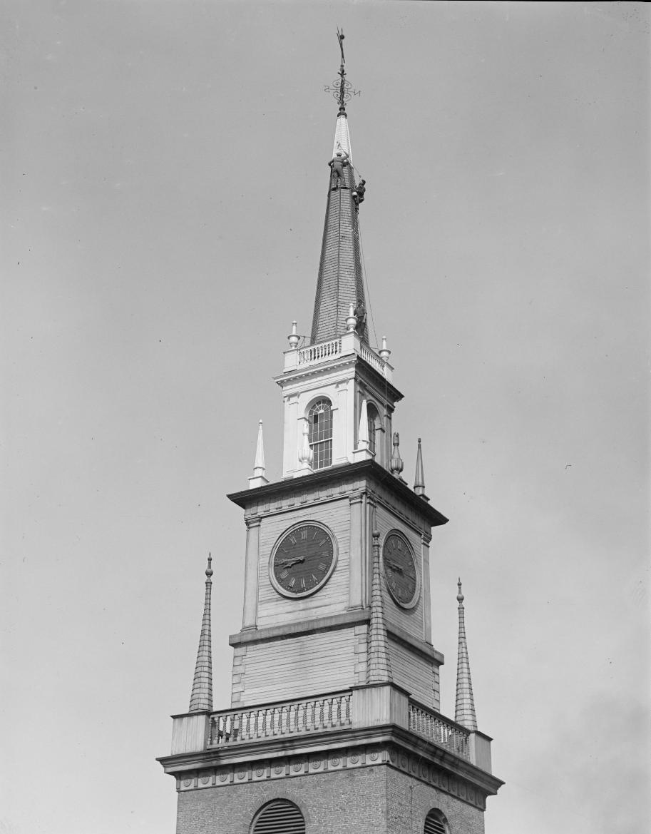 Steeplejacks working on Old North's second steeple.