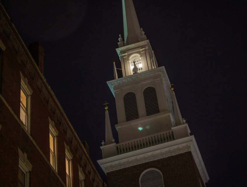 Two lanterns lit in the steeple for Patriots Day.